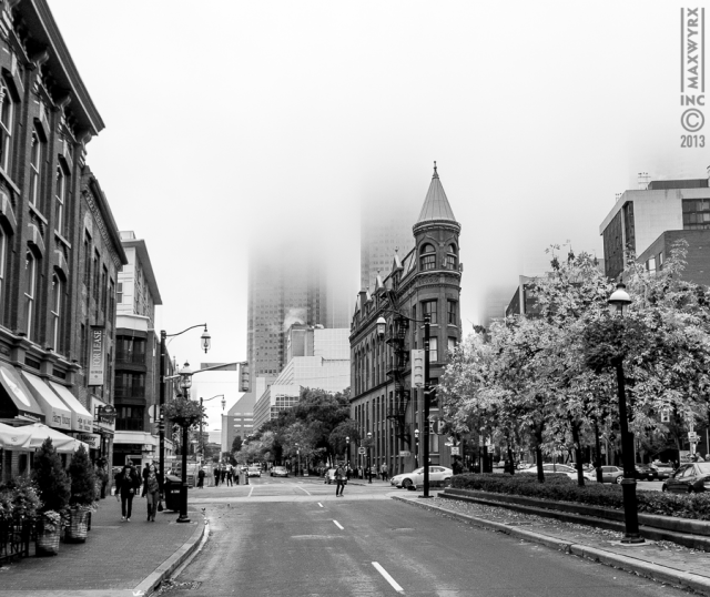 Downtown Toronto lost in fog, financial district, downtown, flatiron, st.lawrenc