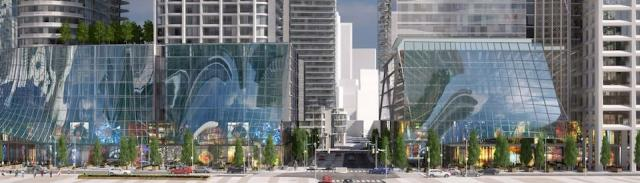 Wide, sheltered sidewalks; the promenade at the 1 - 7 Yonge proposal, Toronto
