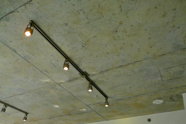 Concrete ceiling in a model suite for Twenty, Streetcar Developments, Seven Haus