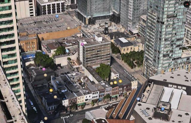 The site of 1 Yorkville and surroundings, image from Apple Maps