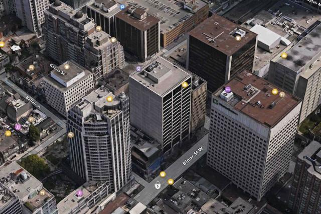 80 Bloor Street West, in the centre of the image, in context. Image from Apple M