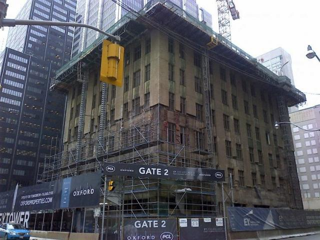 The Concourse Building, Toronto, during demolition