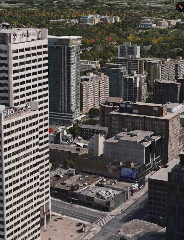 Overlooking the E Condos site from the southwest, image from Apple Maps