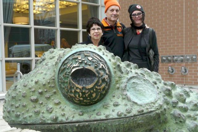 Rina Greer with Dai Skuze and Kim Kozzi of Fastwurms, posing behind Monoceros