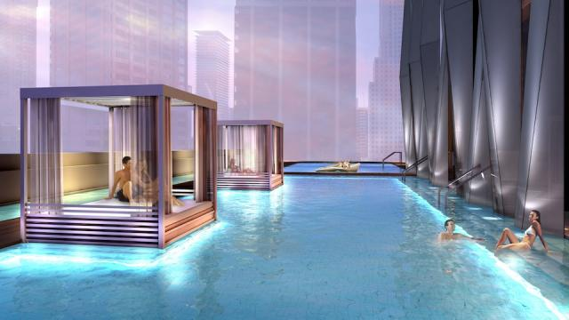 Outdoor Spa Pool at 1 Yorkville condos, Toronto, by Bazis and Plaza