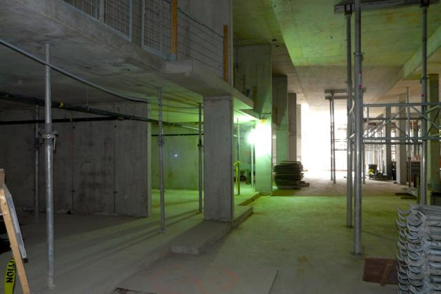Looking from the loading area to the excavation pit for Studio2 condos Toronto