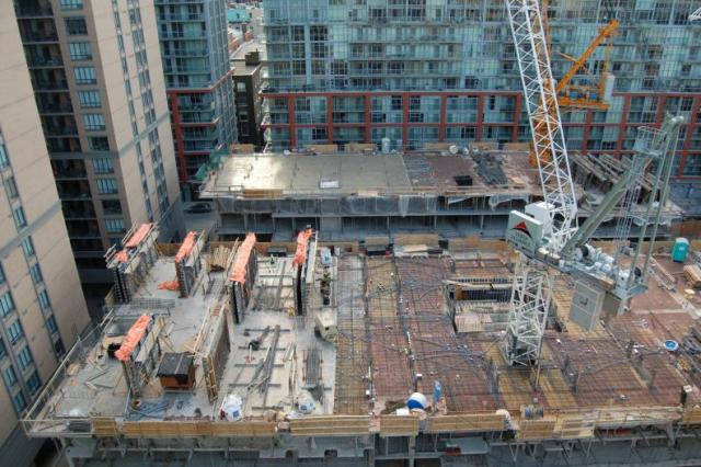 Preparing to pour another floor at Studio condos Toronto in December