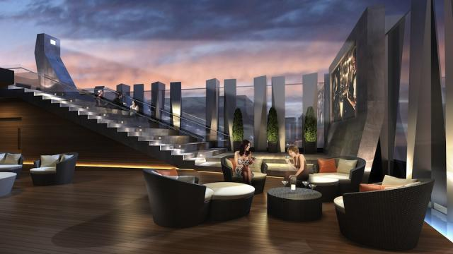 The rooftop amenity area at 1 Yorkville condos Toronto by Bazis and Plaza