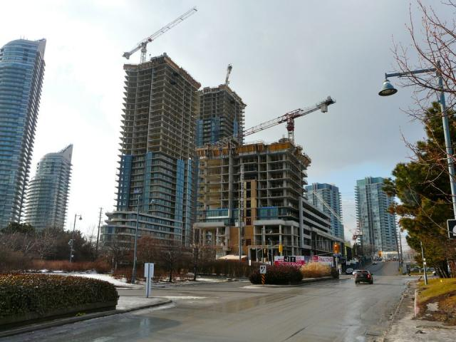 The first three towers under construction at Westlake by Onni, Toronto