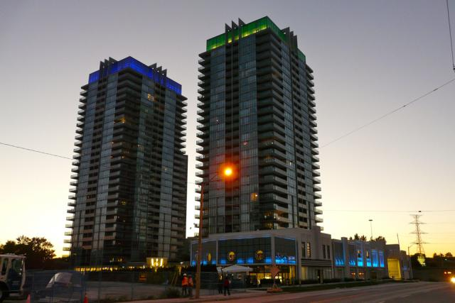 South Beach Condos lit up by night, Toronto, image by Craig White