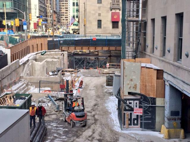 Construction staging area for the new PATH pedestrian tunnel under York Street