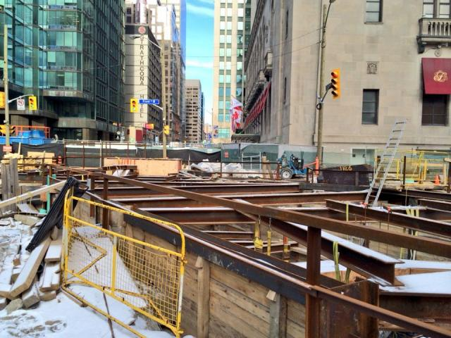 Steel posts and beams frame the new PATH pedestrian tunnel under York Street