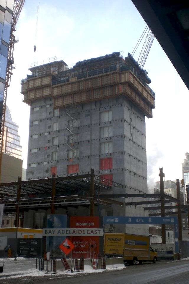 Floor joists now support the first office floors at Bay Adelaide Centre East, im