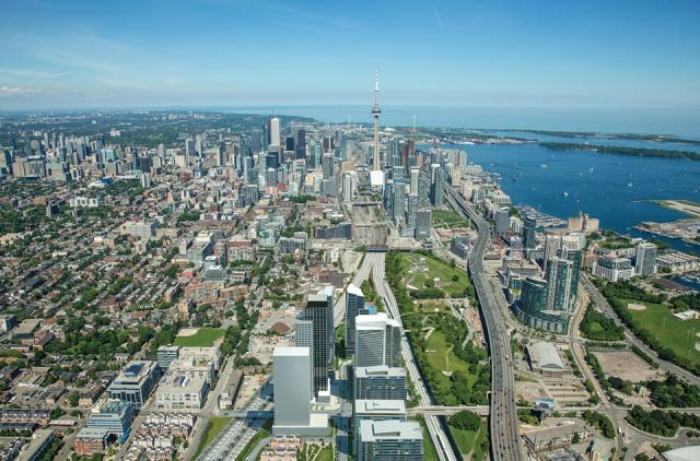 Garrison Point in the foreground with the Toronto Skyline behind, image courtesy