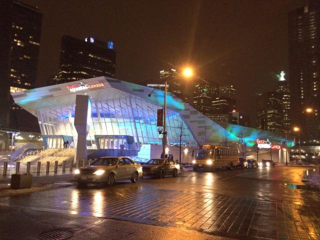Ripley's Aquarium of Canada, Toronto, lit up at night, image by Craig White