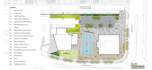 Site Plan for plaza in Downtown Markham