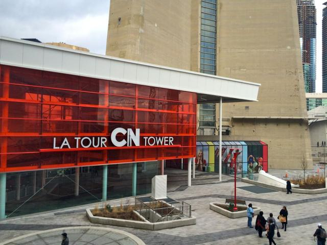 The CN Tower and its new entry pavilion, completed last year, Toronto