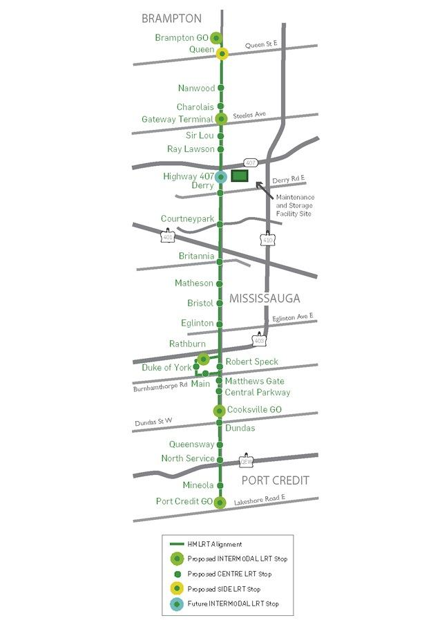 Map of proposed Hurontario-Main LRT, image courtesy of Metrolinx