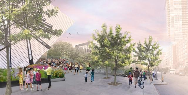 Welcome Project plaza and public realm looking southwest, rendering courtesy of