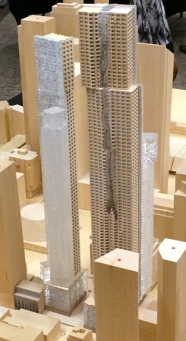Closer-up on the north façades and 'waterfall' feature, Mirvish+Gehry Toronto