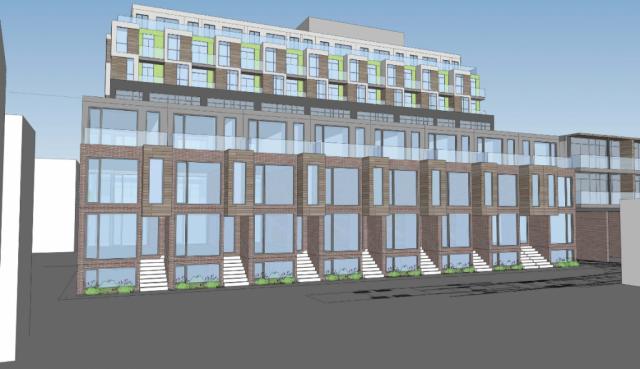 Townhome section at 1327 Queen Street by Rockport Group and Trolleybus