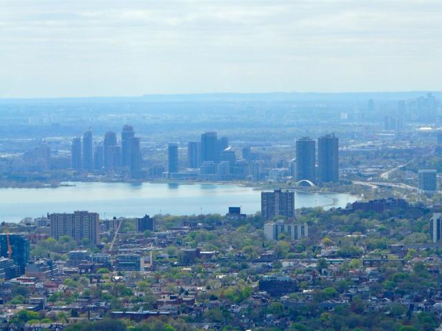 Humber Bay Shores, and the Niagara Escarpment on the distant horizon, image by C