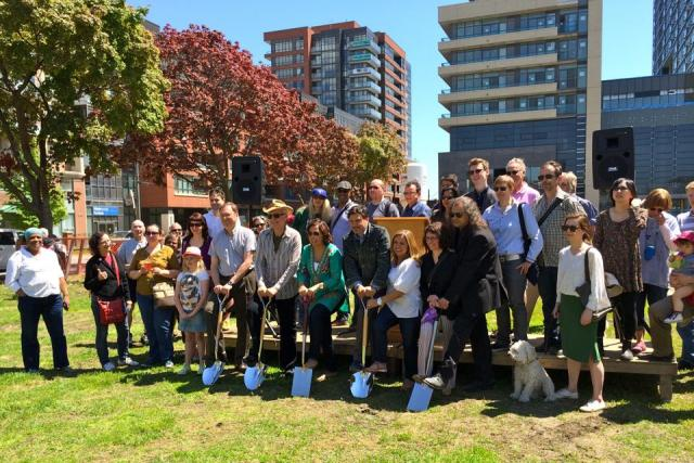 Groundbreaking for the new park with Councillor Bailão, and community members