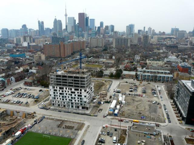 Looking down from One Park Place over more of Phase 2 towards Downtown Toronto