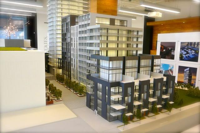 Scale model of The Carnaby, focusing on Carnaby Collection suites, Toronto