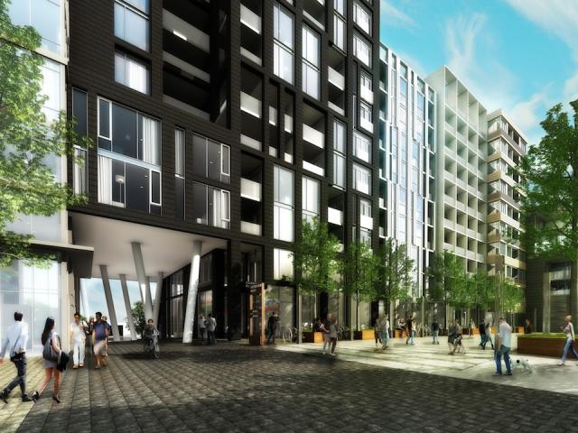Rendering of Carnaby Row, the mews which runs through the complex, Toronto