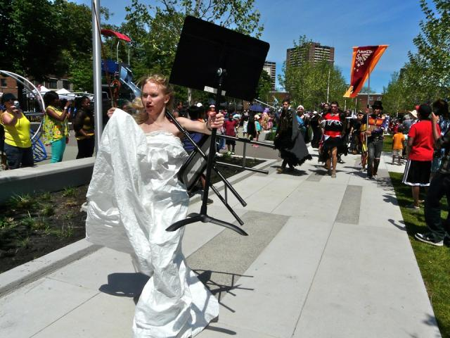 Performance artists help celebrate the Opening of Regent Park, Toronto