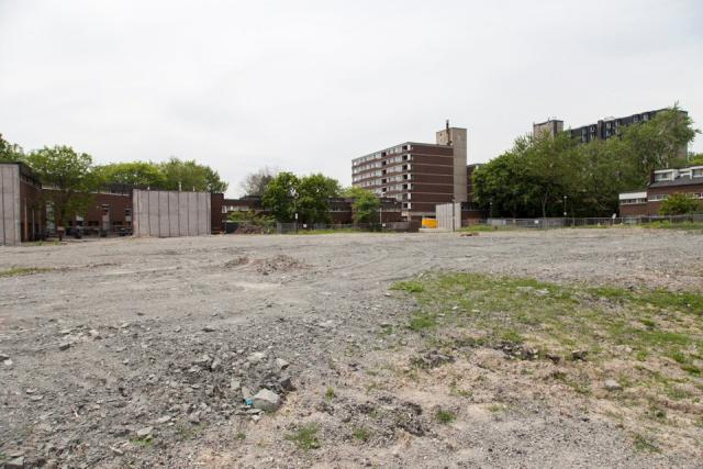 Demolition site of first market condos and new townhomes in Alexandra Park