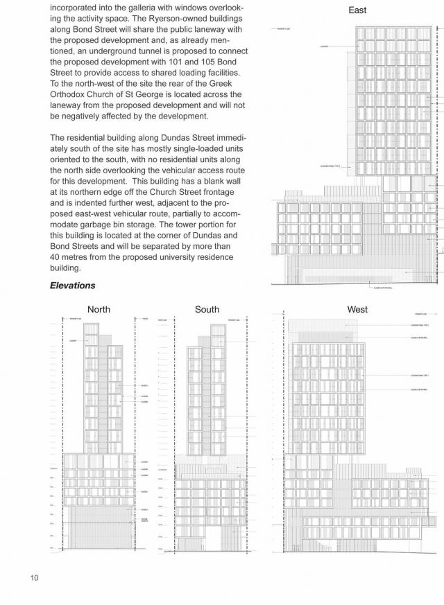 Elevations depict height and massing of building. Image by Ryerson University.