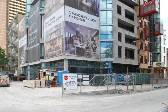 Work progressing on the podium of CHAZ Yorkville Condos. Image by Marcus Mitanis
