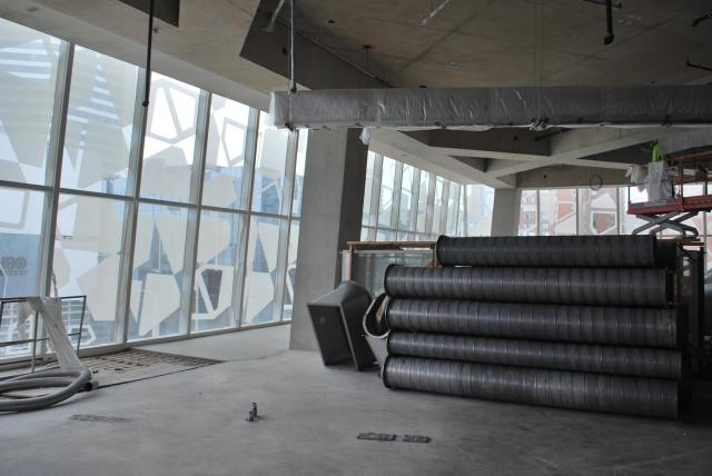 Ducts waiting to be installed on the seventh floor. Image by Marcus Mitanis.