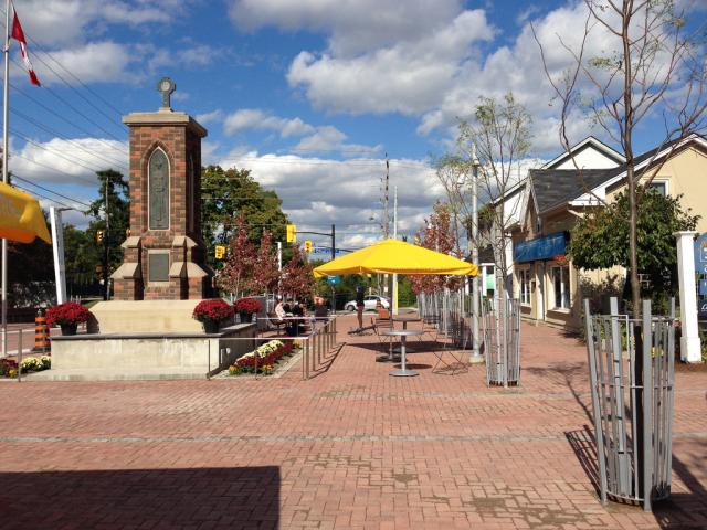 Cenotaph and new outdoor seating at Streetsville Village Square, Mississauga