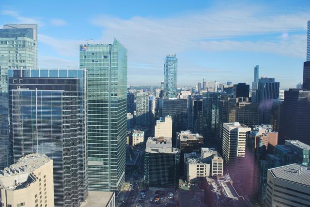 North view of downtown from the 46th floor, Delta Toronto