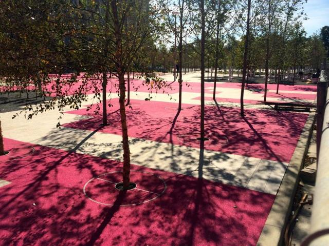 Ure-tech surfaces colour much of June Callwood Park pink, Toronto, gh3
