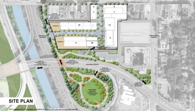 Map of the site, including DVP on-ramp and proposed park. Image by Streetcar.