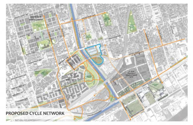 Map of site and proposed bike and pedestrian connections. Image by Streetcar.