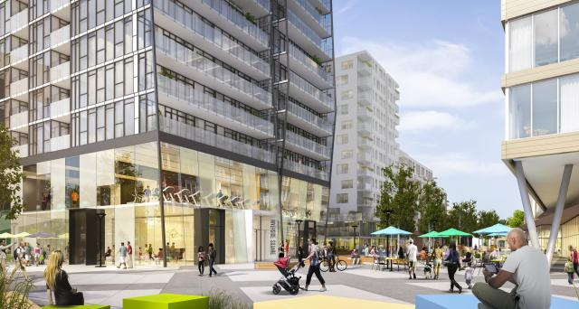 Riverside Square will include retail and pedestrian spaces. Image by Streetcar.