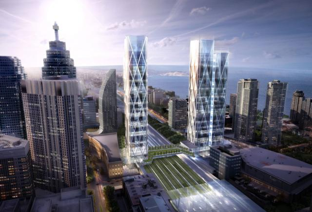 Revised plan for 45-141 Bay Street redevelopment. Image by Ivanhoé Cambridge.
