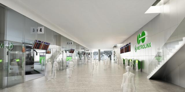 Interior of the new GO Bus Terminal space at 45 Bay. Image by Ivanhoé Cambridge.