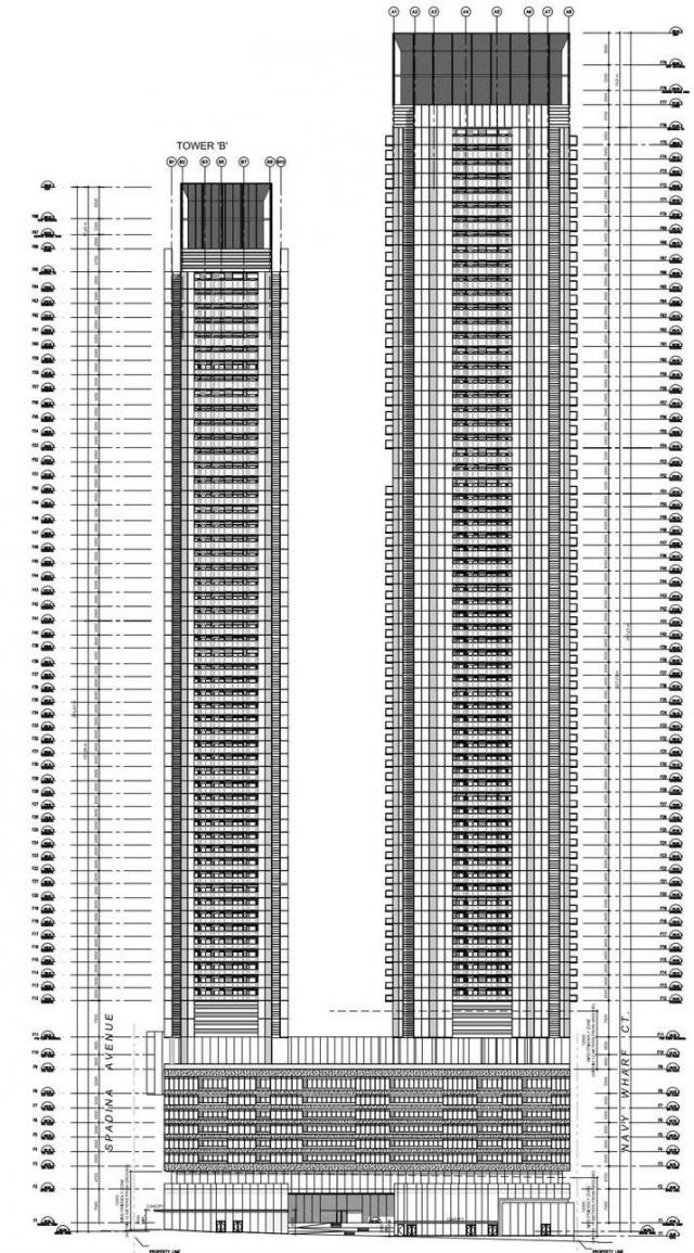 South elevation diagram, Signature Towers, Concord CityPlace