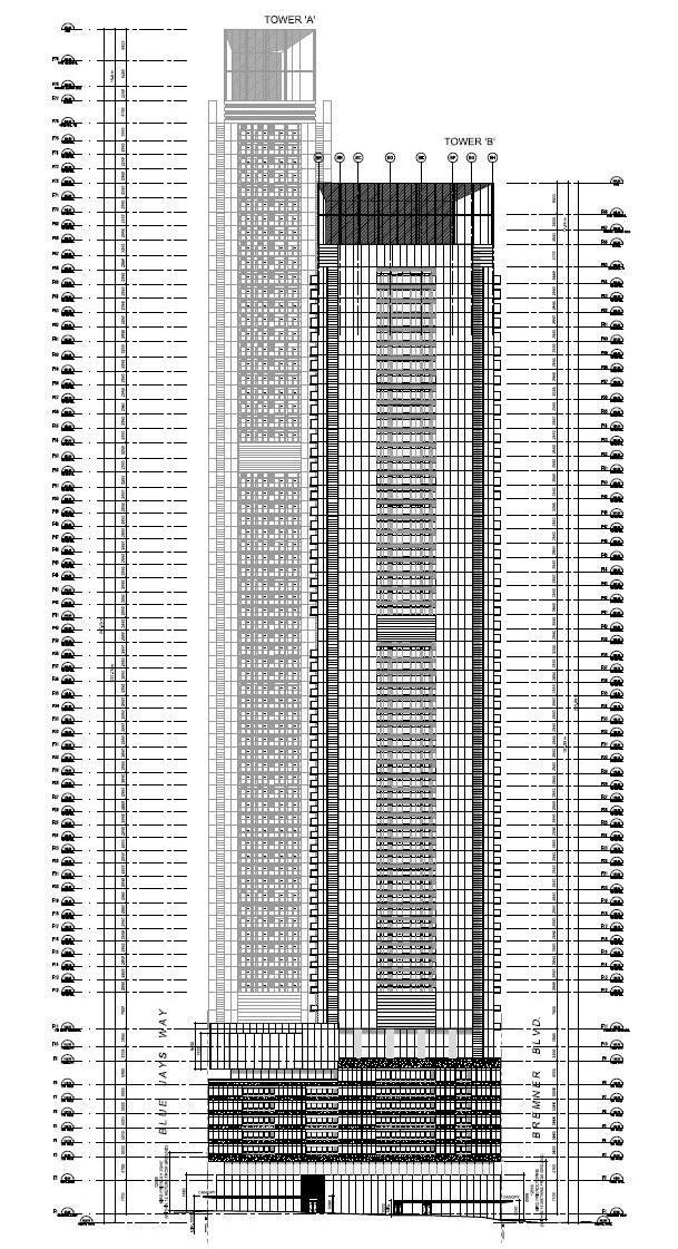 West elevation diagram, Signature Towers, Concord CityPlace