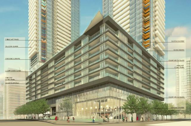Podium rendering, Signature Towers, Concord CityPlace