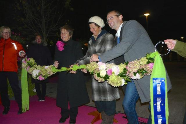 Ellen Carr, Jill Frayne, and Mike Layton cut the ribbon at June Callwood Park