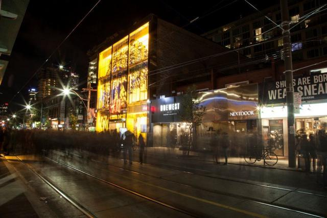 Coalesce by Lizz Aston lights up Queen Street West. Image by Jack Landau.
