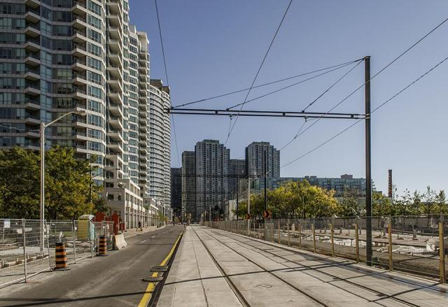 The streetcar tracks have been finished, but other work remains to be completed