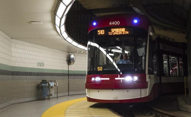 A new low-floor TTC Streetcar arrives at Union Station, Toronto